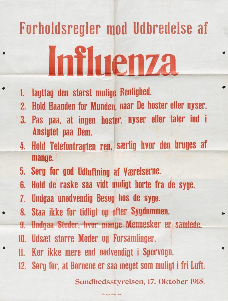 Forholdsregler mod Udbredelse af Influenza; Kilde: Sundhedsstyrelsen, 17. oktober 1918